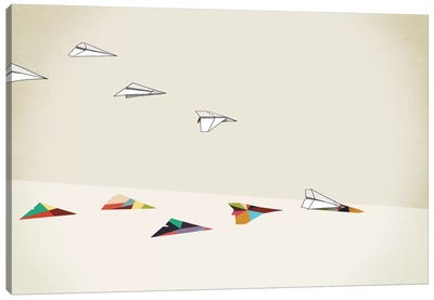 Walking Shadow Paper Planes Canvas Art Print