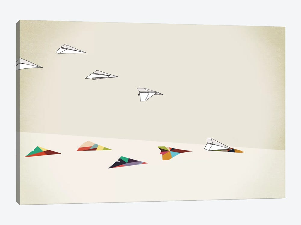Walking Shadow Paper Planes by Jason Ratliff 1-piece Canvas Art