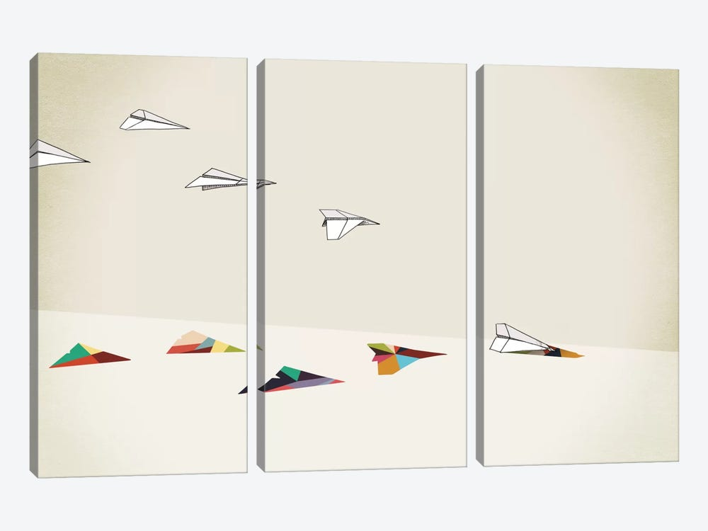 Walking Shadow Paper Planes by Jason Ratliff 3-piece Canvas Art