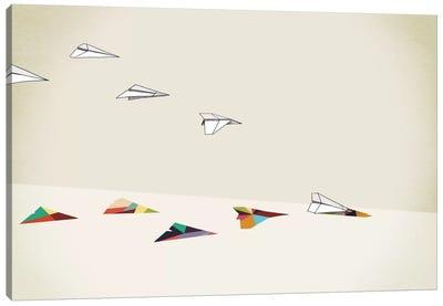 Walking Shadow Paper Planes Canvas Art Print