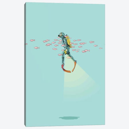 Float Under The Sea Canvas Print #JRF3} by Jason Ratliff Art Print