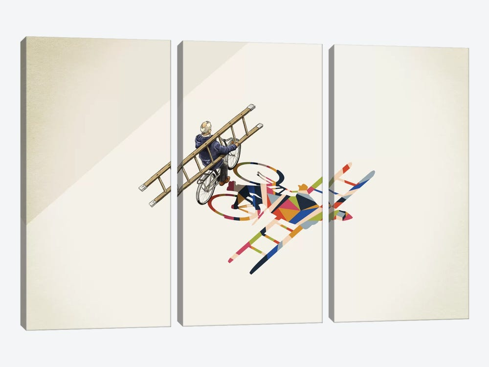Walking Shadow Bicycle by Jason Ratliff 3-piece Canvas Art