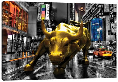 Charging Bull In Time Square Canvas Art Print