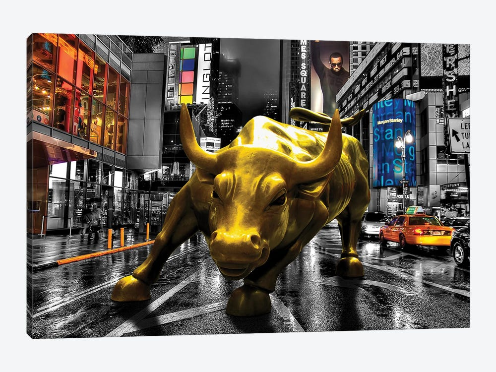 Charging Bull In Time Square 1-piece Canvas Art Print