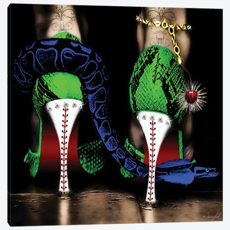 High Heels Green Canvas Print #JRH21} by Jan Raphael Canvas Wall Art