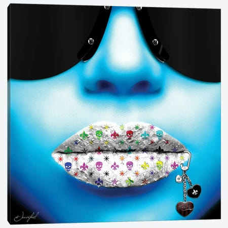 Kiss Me Blue Canvas Print #JRH23} by Jan Raphael Canvas Artwork