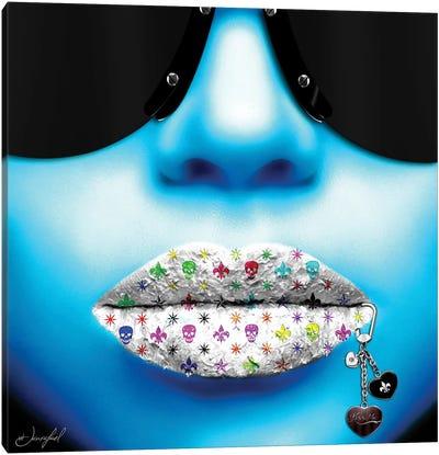 Kiss Me Blue Canvas Art Print