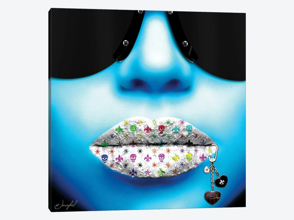 Kiss Me Blue by Jan Raphael 1-piece Art Print
