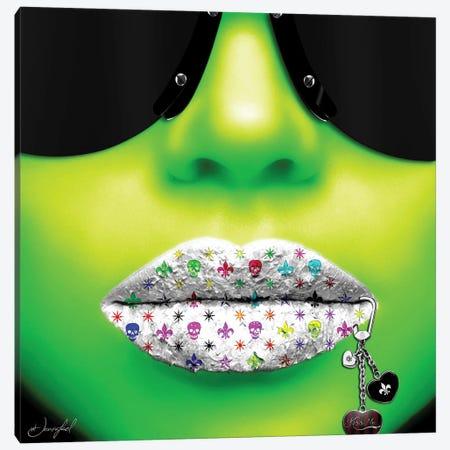 Kiss Me Green Canvas Print #JRH25} by Jan Raphael Canvas Print
