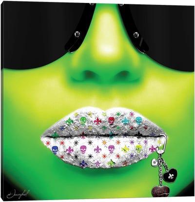 Kiss Me Green Canvas Art Print