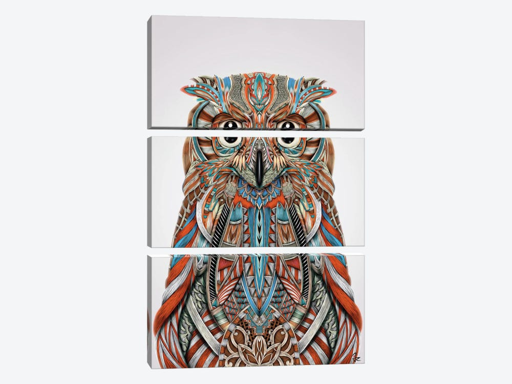 Eagle Owl by Giulio Rossi 3-piece Canvas Art Print