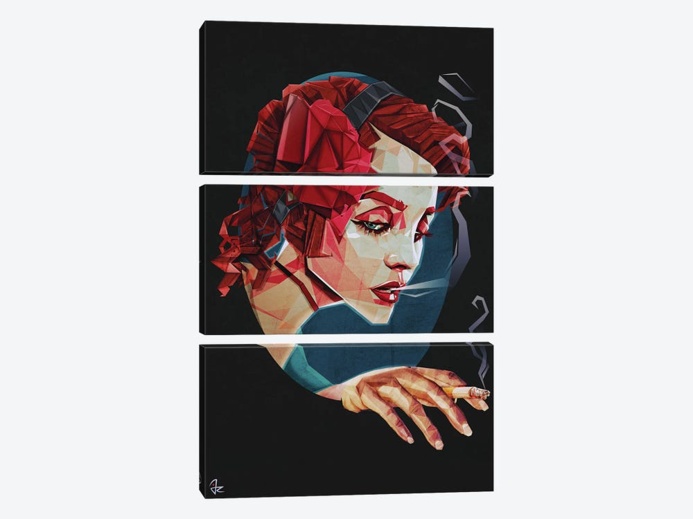 Smoking Princess by Giulio Rossi 3-piece Canvas Wall Art