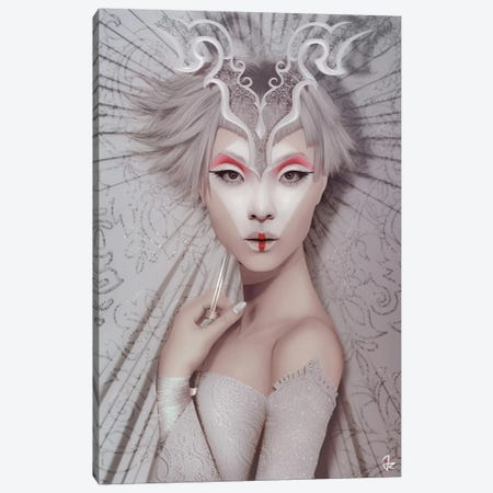 The White Geisha Canvas Print #JRI78} by Giulio Rossi Canvas Artwork