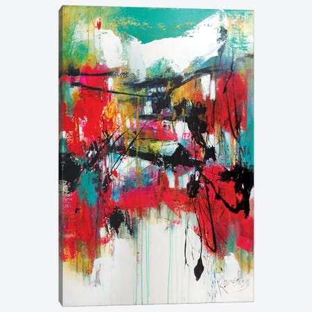 Red Forest Green Sky Canvas Print #JRM31} by Jude Remedios Canvas Wall Art