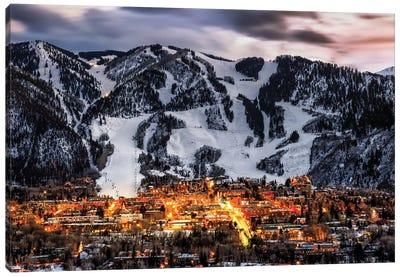Winter Aspen Lights Canvas Art Print