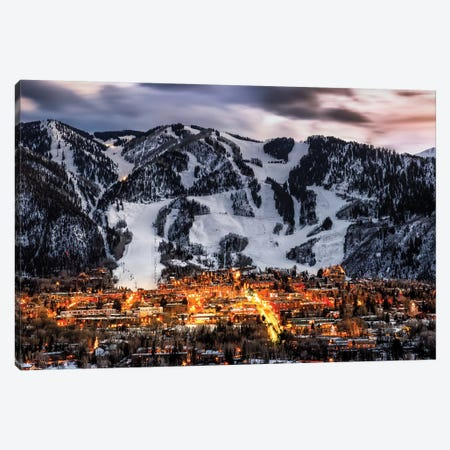 Winter Aspen Lights Canvas Print #JRP111} by Jonathan Ross Photography Canvas Artwork