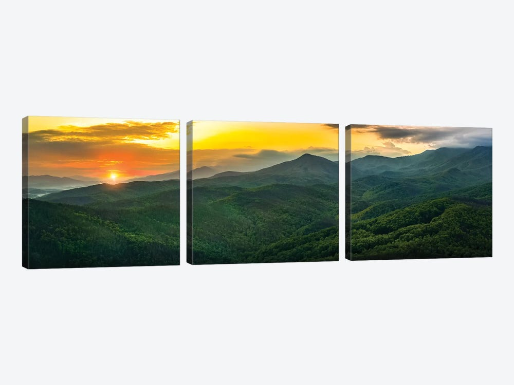 Sunset On The Smokies by Jonathan Ross Photography 3-piece Canvas Art Print