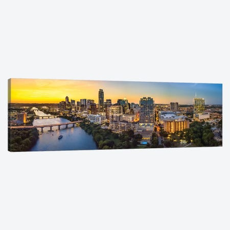 Austin Skyline After Sunset 3-Piece Canvas #JRP119} by Jonathan Ross Photography Canvas Artwork