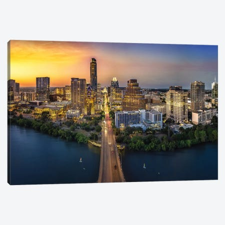 Austin Skyline With Capital Canvas Print #JRP120} by Jonathan Ross Photography Canvas Print