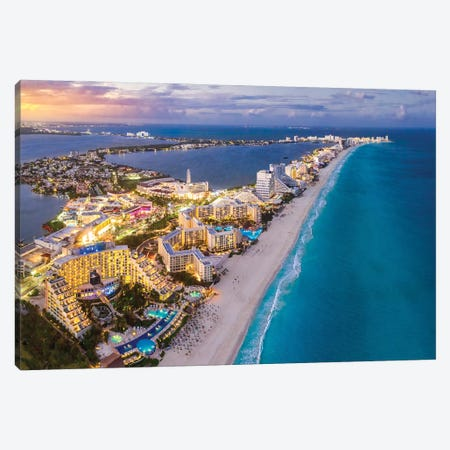 Cancun Shoreline Sunset Canvas Print #JRP139} by Jonathan Ross Photography Canvas Artwork