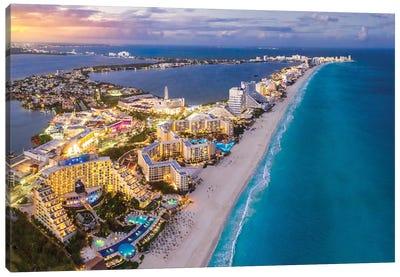 Cancun Shoreline Sunset Canvas Art Print