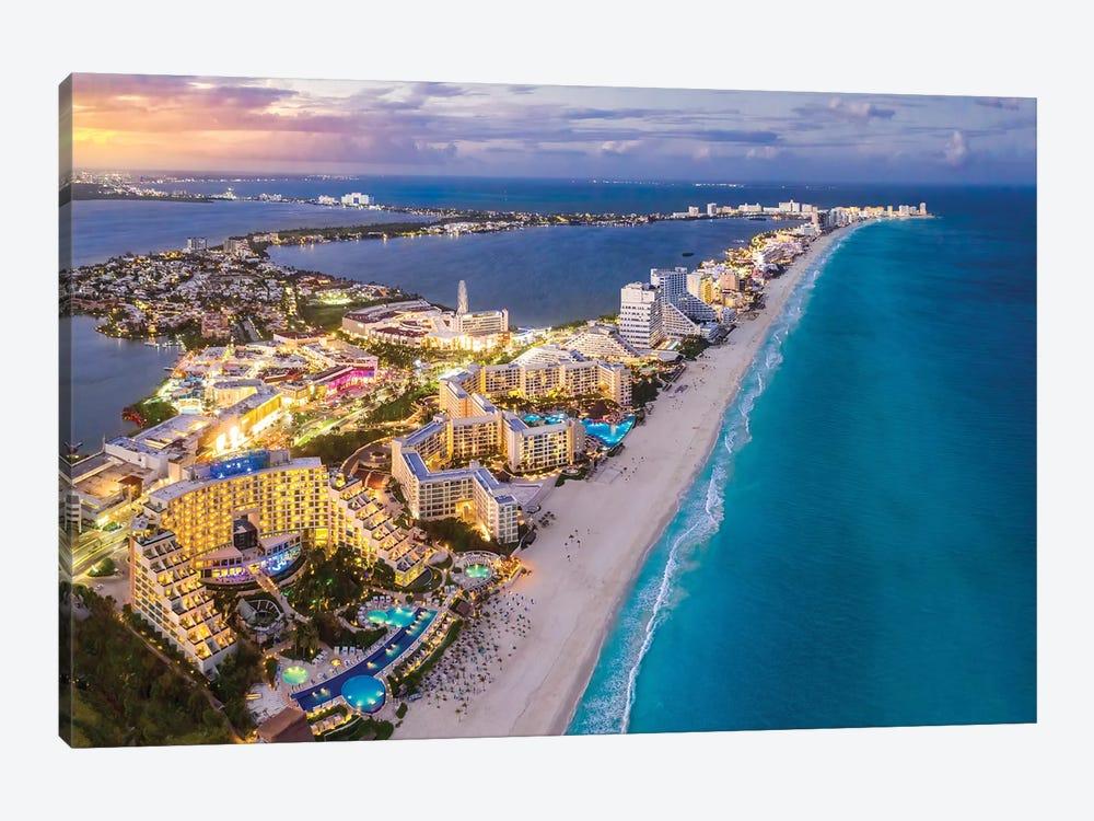 Cancun Shoreline Sunset by Jonathan Ross Photography 1-piece Canvas Artwork