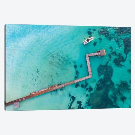 Blue Dock Canvas Print #JRP141} by Jonathan Ross Photography Canvas Art Print