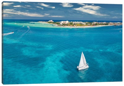 Sailing In The Blue Sea Canvas Art Print