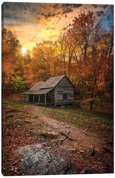 Sunset Near The Log Cabin Canvas Art Print
