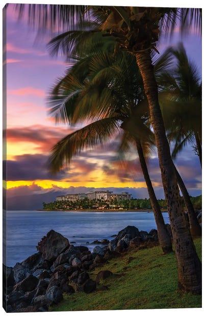 The Sun Setting Over Hawaii Canvas Art Print