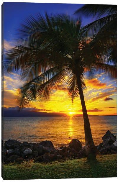 The Sun Setting Over Maui Canvas Art Print