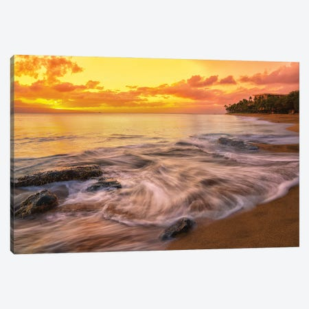 Calming Waves With A Golden Sunset Canvas Print #JRP157} by Jonathan Ross Photography Canvas Print