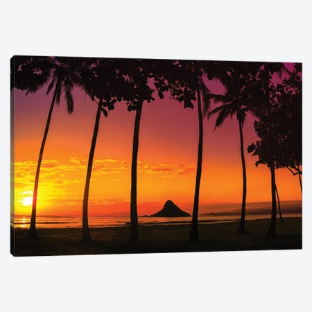 Chinaman's Hat Sunset In Oahu Canvas Print #JRP161} by Jonathan Ross Photography Art Print