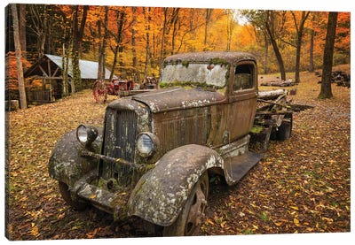 Old Car In The Autumn Forest Canvas Art Print