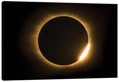 Eclipse With Diamond Ring And Solar Flare Canvas Art Print