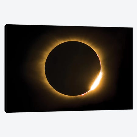 Eclipse With Diamond Ring And Solar Flare 3-Piece Canvas #JRP25} by Jonathan Ross Photography Canvas Art Print