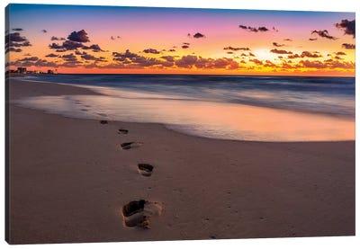 Footsteps At Sunrise Canvas Art Print