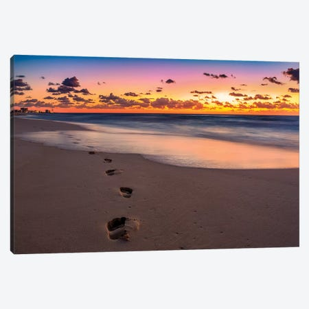 Footsteps At Sunrise Canvas Print #JRP29} by Jonathan Ross Photography Canvas Artwork