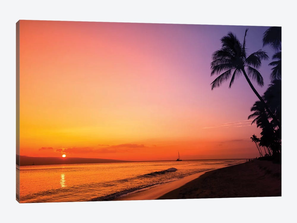 Hawaiian Sunset Glow by Jonathan Ross Photography 1-piece Canvas Art Print