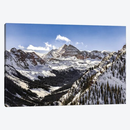 Maroon Bells Panorama 3-Piece Canvas #JRP48} by Jonathan Ross Photography Canvas Art