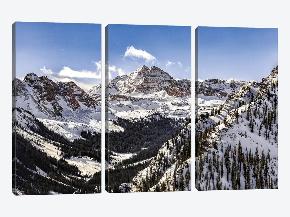 Maroon Bells Panorama by Jonathan Ross Photography 3-piece Canvas Wall Art
