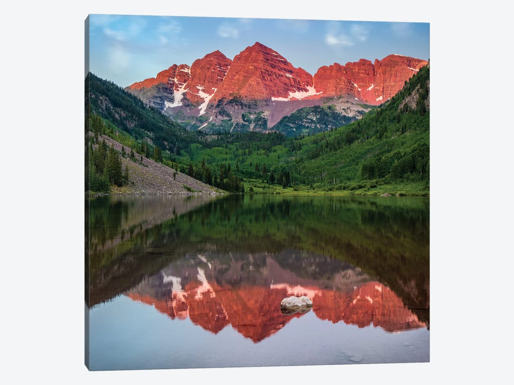 Mirrored Maroon Bells by Jonathan Ross Photography 1-piece Canvas Wall Art