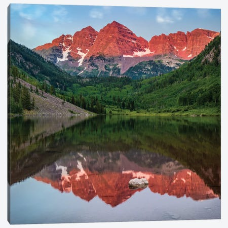 Mirrored Maroon Bells 3-Piece Canvas #JRP51} by Jonathan Ross Photography Canvas Art Print