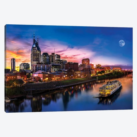 Moon Over Nashville Canvas Print #JRP55} by Jonathan Ross Photography Canvas Art