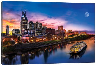 Moon Over Nashville Canvas Art Print