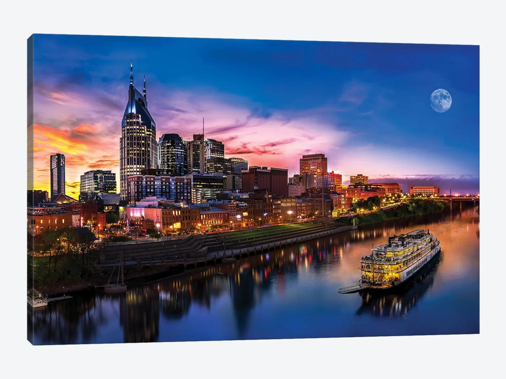 Moon Over Nashville by Jonathan Ross Photography 1-piece Canvas Artwork