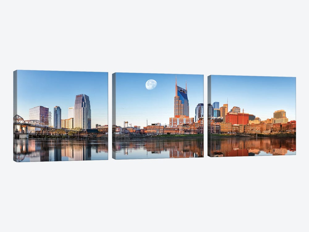 Nashville Daybreak Panorama by Jonathan Ross Photography 3-piece Canvas Wall Art