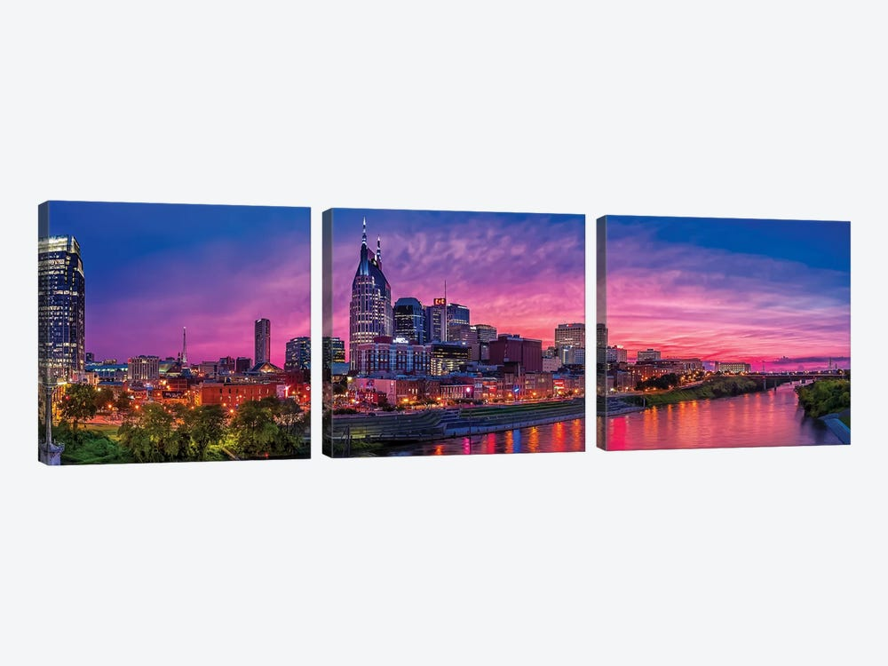 Nashville Glow by Jonathan Ross Photography 3-piece Canvas Wall Art