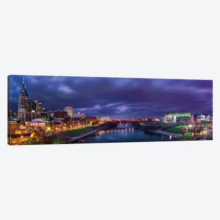 Nashville Lights On The Cumberland River Canvas Print #JRP61} by Jonathan Ross Photography Canvas Wall Art