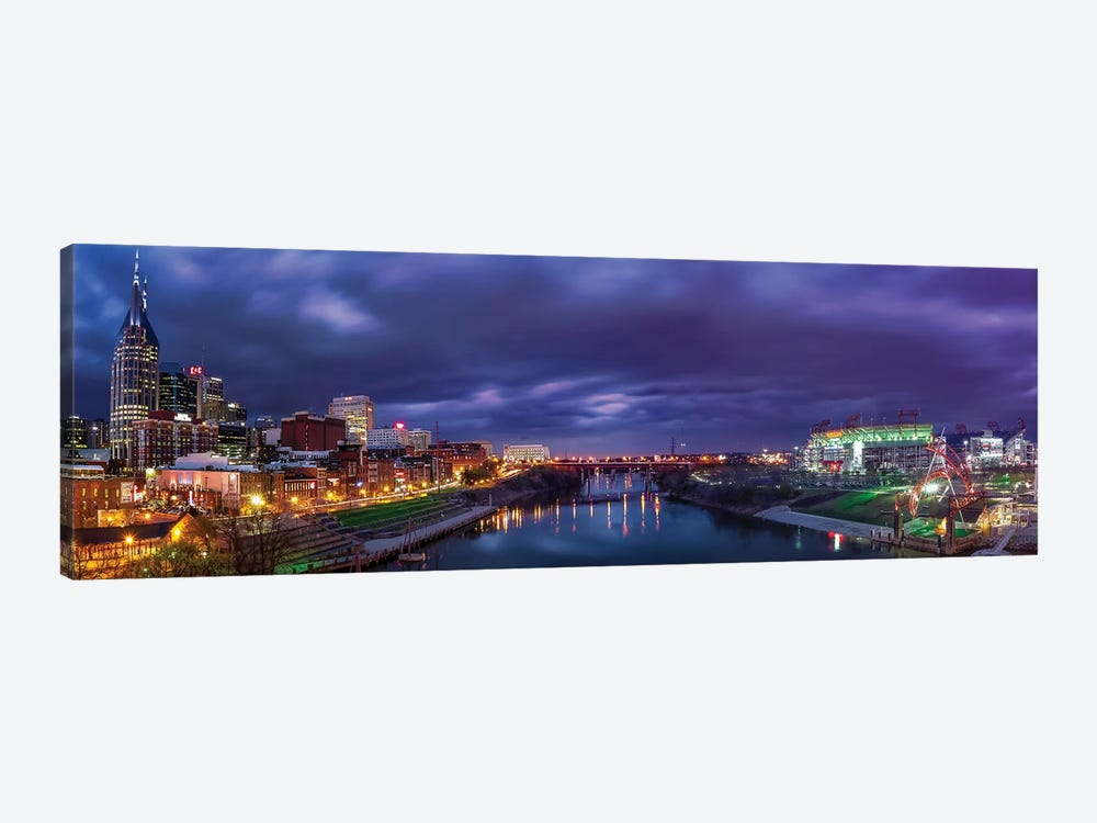 Nashville Lights On The Cumberland River by Jonathan Ross Photography 1-piece Canvas Art Print